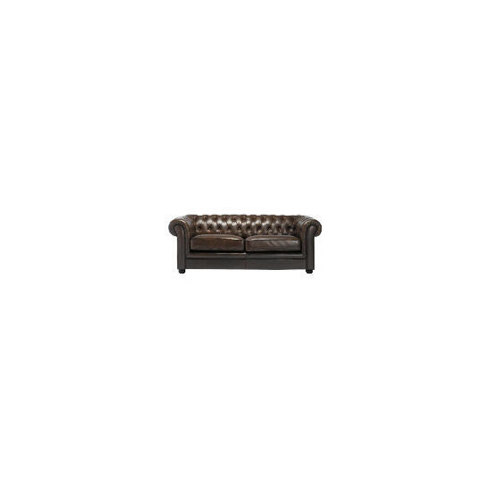 Chesterfield Large Leather Sofa, Antique Brown