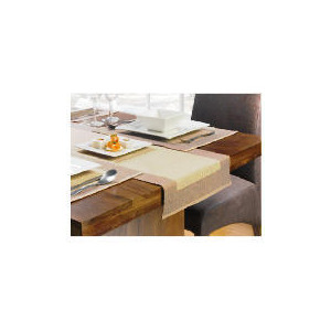Photo of Tesco Ribbed Cream & Taupe, 6 Pack Of Placemat & 1 Runner Home Miscellaneou
