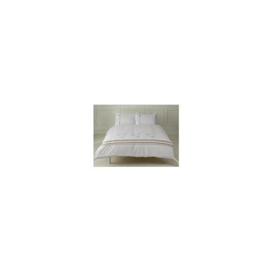 Tesco Fern Embroidered Duvet Set Kingsize, White