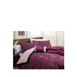 Tesco Alanis Embroidered Duvet Set Double, Plum Reviews