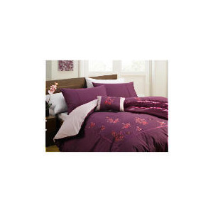 Photo of Tesco Alanis Embroidered Duvet Set Double, Plum Bed Linen