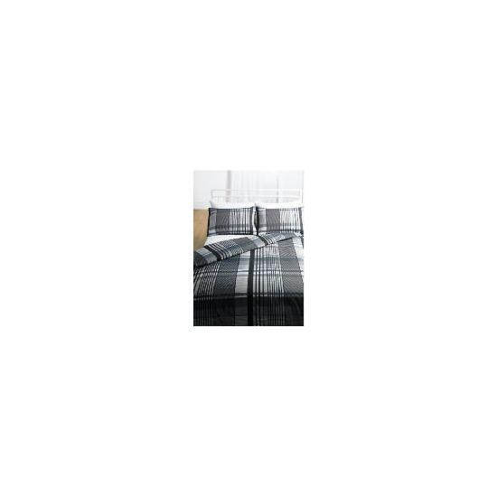 Tesco Check Print Duvet Set Single, Grey