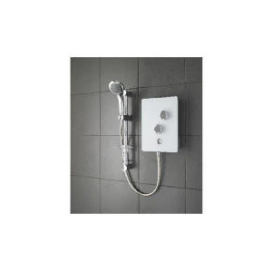 Photo of Triton Glass Electric Shower White Glass Bathroom Fitting