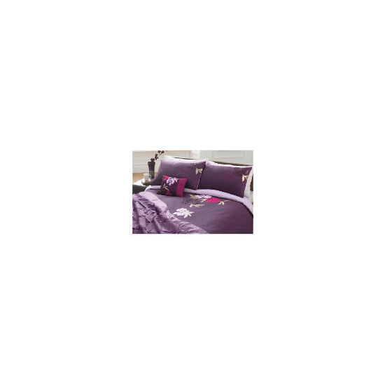 Tesco Stitched Floral Embroidered Duvet Set Double, Plum