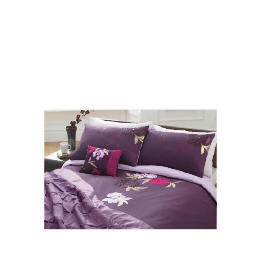 Tesco Stitched Floral Embroidered Duvet Set King, Plum Reviews