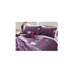 Photo of Tesco Stitched Floral Embroidered Duvet Set King, Plum Bed Linen