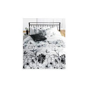 Photo of Tesco Flocked Print Duvet Set King, White Bed Linen