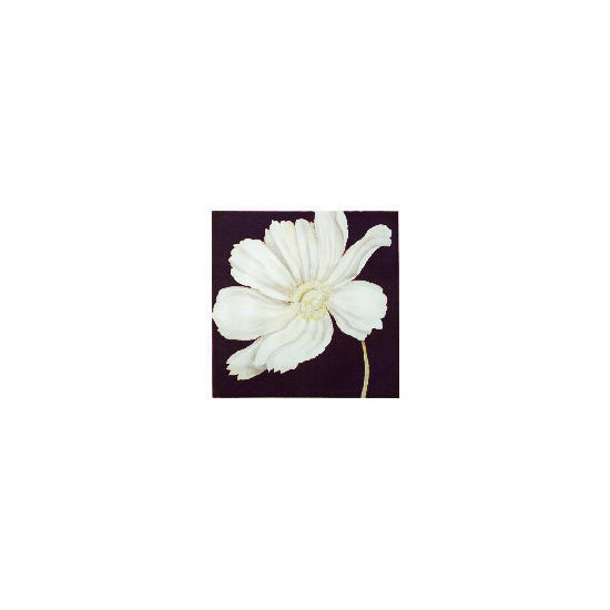 White Cosmos Printed Canvas With Hand Painted Effect 90x90cm