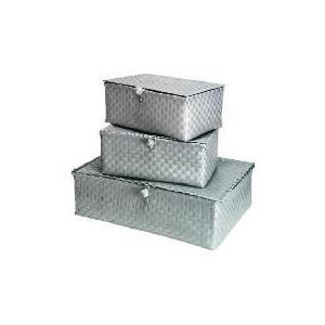 Photo of Silver Woven Underbed Box With 2 Storage Baskets Household Storage