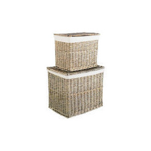 Photo of Rustic Chunky Willow Set Of 2 Lidded Household Storage