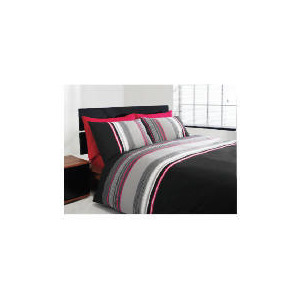 Photo of Tesco Twinpack Kieran Stripe Double, Black Bed Linen