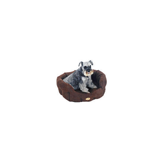 """Rosewood 36"""" Suede Oval Dog Bed Cappuccino"""