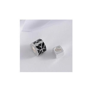 Photo of Sterling Silver Set Of 2 Black Enamel Bead Charms Jewellery Woman