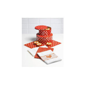 Photo of Tesco Red Spot Cake Tins, Work Surface Protector & Tea Towels Kitchen Accessory
