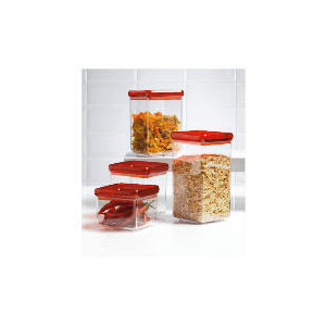 Photo of Tesco Red 4 Piece Stackable Storage Set Kitchen Accessory