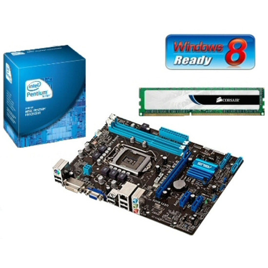 Intel Value Bundle V2 with Asus P8H61-MX Rev2.0 Motherboard Intel Pentium G620 CPU and 2GB DDR3 (1 x 2GB) Corsair Memory