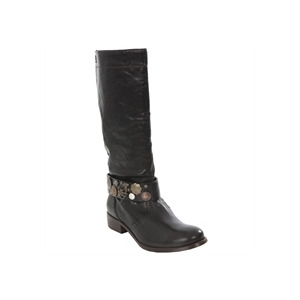 Photo of Diesel Black Knee High Biker Boot Shoes Woman