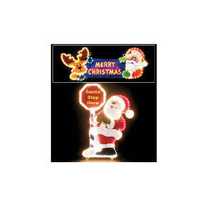 Photo of Light Up Santa Stop Here Sign (Direct) Christmas
