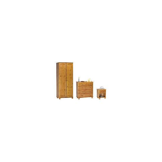 Salisbury 2 Door Wardrobe, Antique Pine,  4 Drawer bedside chest,  4 Drawer Chest