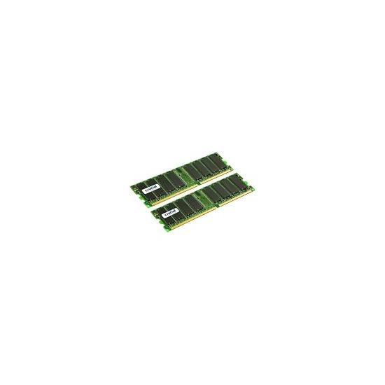 Crucial - Memory - 2 GB ( 2 x 1 GB ) - DIMM 184-PIN - DDR - 400 MHz / PC3200 - CL3 - 2.6 V - unbuffered - non-ECC