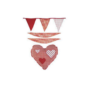Photo of Kids Red Gingham Heart Room Accessories Pack Bed Linen