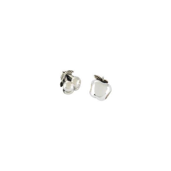Silver Cherries & Apple Charm Bead Set