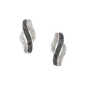 Photo of 9 CT WG Black & White Dia Wave Studs Jewellery Woman