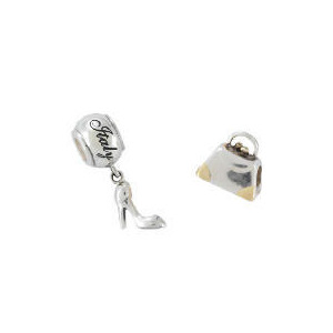 Photo of Silver/Gold Plated Hand Bag & Silver Shoe Charm Bead Set Jewellery Woman