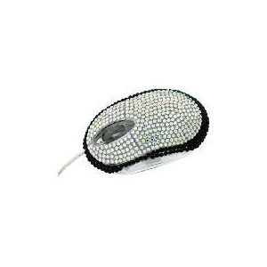 Photo of Satzuma Silver and Black Diamante Mouse Computer Mouse