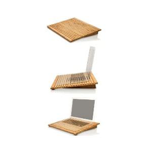 Photo of EcoFan Pro - Bamboo Laptop Cooling Stand Laptop Accessory