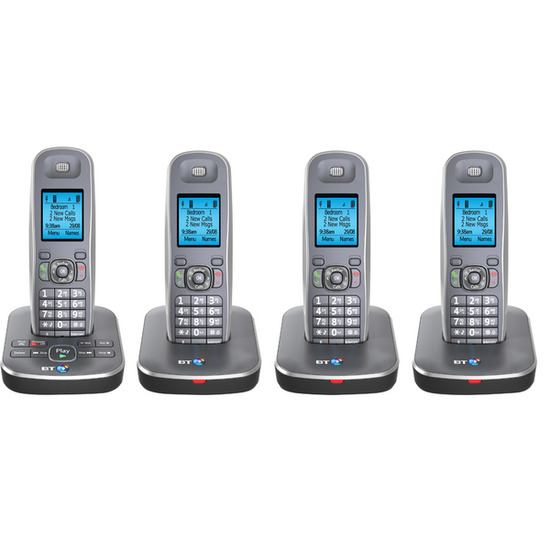 BT 7500 Digital Cordless Phone with Answering Machine - Quad handsets