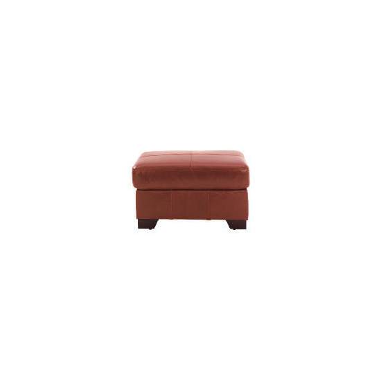 Maine leather footstool, cognac