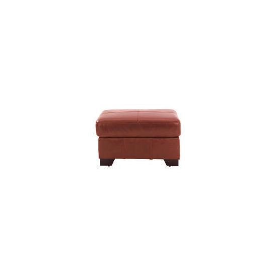 Maine leather footstool, cognac