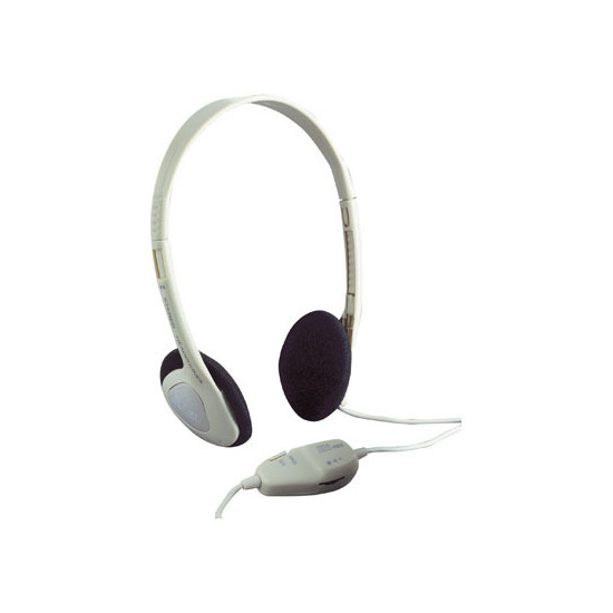 White Switched Mono/Stereo Computer Headphones with In-line Volume Control and 3.5mm Gold Plated Stereo Jack Plug. Blister