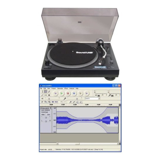SoundLab USB Turntable with Software & Lid (Professional DJ Quality Record Deck) G056c