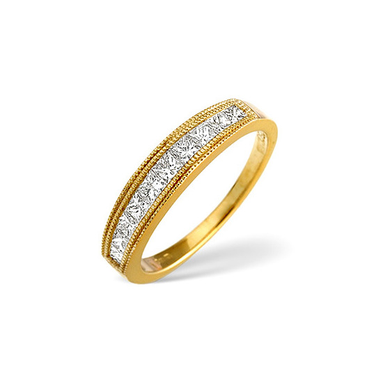 18K Gold Channel set Brilliant Half eternity with 18K Gold Design H/si Anchor Certified