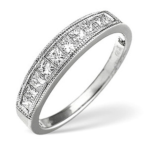 Photo of 18K White Gold Channel Set Brilliant Half Eternity With Gold Design H/Si Anchor Certified Jewellery Woman