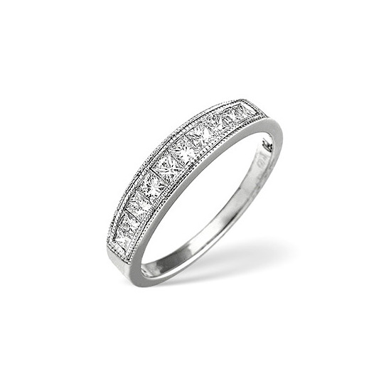 18K White Gold Channel Set Brilliant Half Eternity with Gold Design H/si Anchor Certified