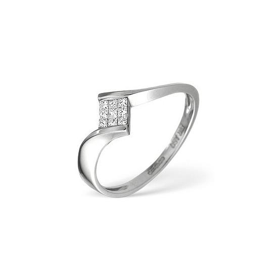 18K White Gold Princess Diamond Twisty Ring