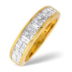 Photo of 18K Gold Channel Set Princess and Baguette Diamond Ring H/Si Anchor Certified Jewellery Woman