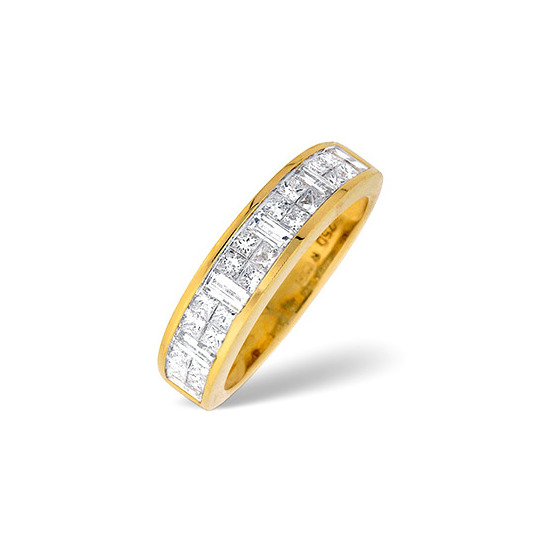 18K Gold Channel Set Princess and Baguette Diamond Ring H/si Anchor Certified