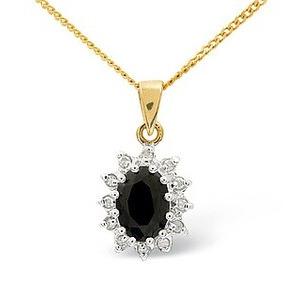 Photo of 9K Gold Diamond and Sapphire Cluster Pendant Jewellery Woman