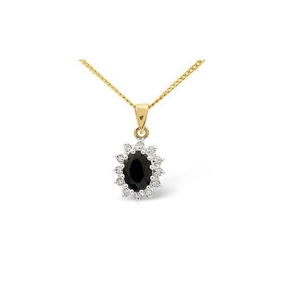 9K Gold Diamond and Sapphire Cluster Pendant