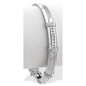 Photo of 9K White Gold Channel Set Diamond Bangle Jewellery Woman