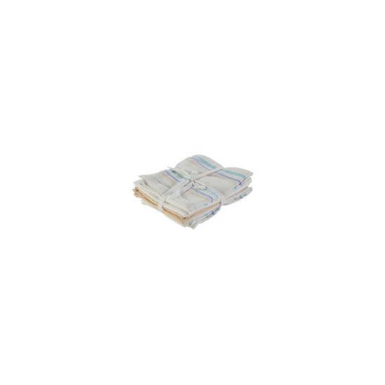 Tesco Tea Towel Waffle Stripe 5 Pack
