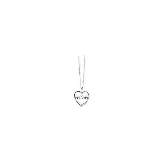 Silver Cz Mum Heart Pendant