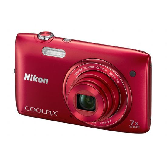 Nikon Coolpix S3400 Compact Digital Camera - Red