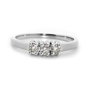 Photo of 9K White Gold Diamond Three Stone Ring 0.25CT Jewellery Woman