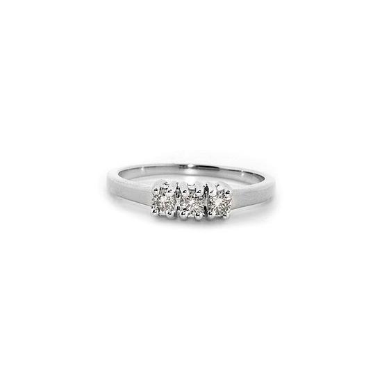9K White Gold Diamond Three Stone Ring 0.25ct