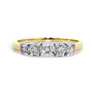Photo of 9K Gold Diamond Five Stone Ring 0.50CT Jewellery Woman